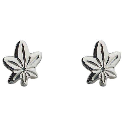 Silver 9x8mm maple leaf stud Earrings