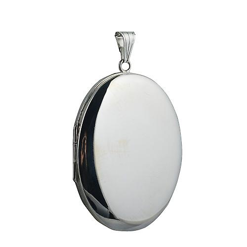 Silver 45x35mm plain oval Locket