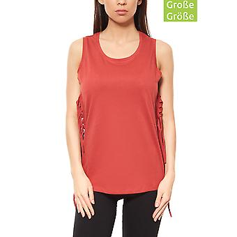 Aniston ladies plus size top red with fringes