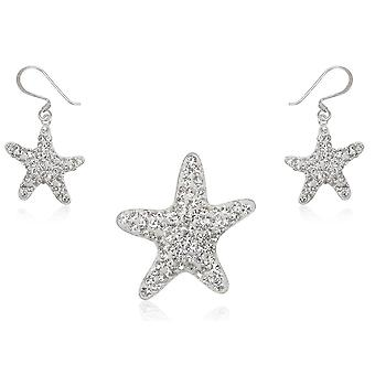 Jewelry pendant and earrings stars in Crystal white and Silver 925
