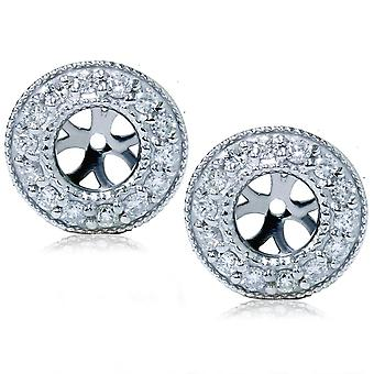 1 / 2ct Halo diamant örhänge jackor 14K vitt guld
