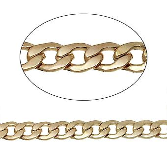 1m x Pale Copper Iron Alloy 10 x 15mm Open Beveled Curb Chain CH1955