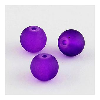 Strand 100+ Purple Glass 8mm Frosted Plain Round Beads Y04930