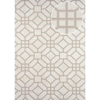 Graphic wallpaper ATLAS here-5134-3 non-woven wallpaper imprinted with geometric forms gleamin' beige perl light grey 7,035 m2 perl - gold