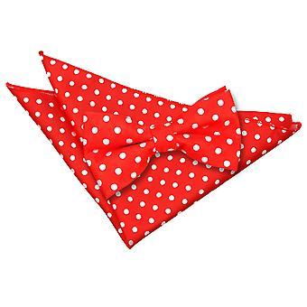 Red Polka Dot Bow-Tie & Einstecktuch Satz