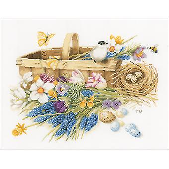 LanArte Spring Flowers On Cotton Counted Cross Stitch Kit-15.5