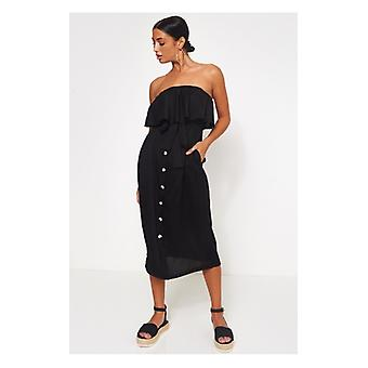 The Fashion Bible Rocha Black Bandeau Button Midi Dress