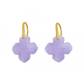 Gemshine - le donne - orecchini - argento 925 placcato - calcedonio - lavanda viola - GEM - 2,5 cm