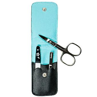 Arrow ring manicure case manicure set manicure set nappa leather black lining turquoise 3-piece Assembly