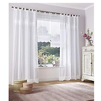 «My home 2 set Curtain» Fortaleza «romantic embroidered white H/W 245 x 140 cm.