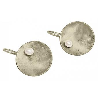 Ladies - earrings - earrings - 925 Silver - Pan - Pearl - White - 3 cm