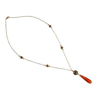 Karneolcollier Halskette Karneol und Rauchquarz Rauchquarzkette Edelsteinkette