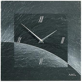 AMS 9518 wall clock quartz of slate natural slate slate clock silver