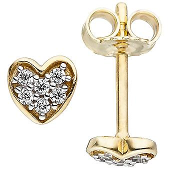 Children earrings heart 375 gold yellow gold 12 cubic zirconia heart stud earring earrings