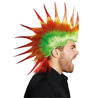 Drago Iroquois punk mens wig green yellow red accessory Carnival Halloween