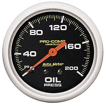 Auto Meter 5422 Pro-Comp; Liquid-Filled Mechanical Oil Pressure Gauge; 2 5/8 in.; 0 - 200 psi; Incl. 1/8/0.25 in. NPT Fi