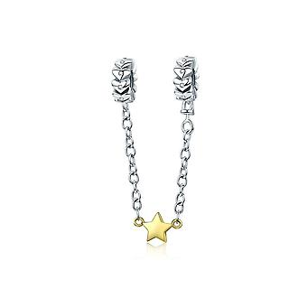 Sterling silver safety chain Hearts with gold plated star