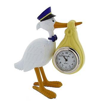 Cadeau producten Stork uitvoering Baby Mini prikklok - wit/goud