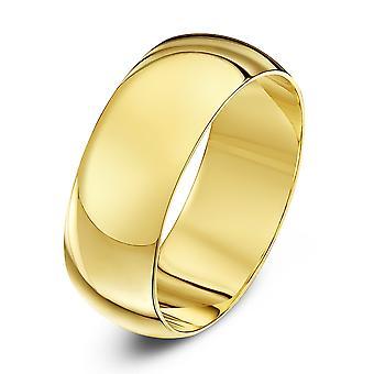 Star Wedding Rings 9ct Yellow Gold Heavy D Shape 8mm Wedding Ring