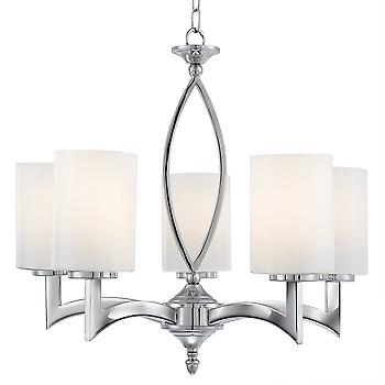 Searchlight 4995-5CC Gina 5 Light Chrome And White Glass Pendant