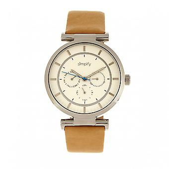 Simplify The 4800 Leather-Band Watch w/Day/Date - Khaki/Silver