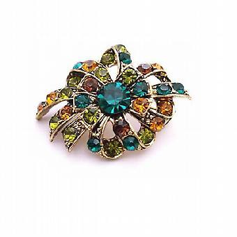 Multicolored Brooch Emerald Olivine Topaz Crystals Antique Gold Brooch