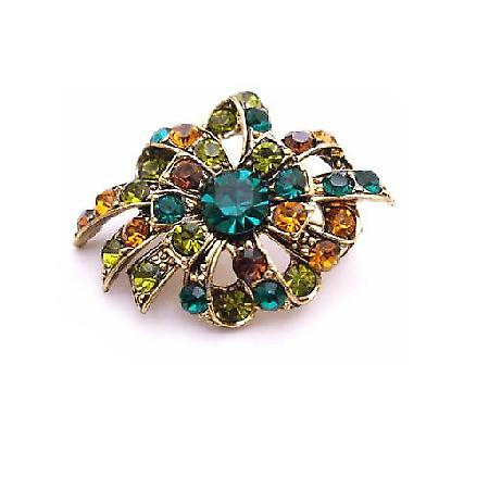 Multicolored Brooch Emerald Olivine Topaz Crystals Antique Gold Brooch