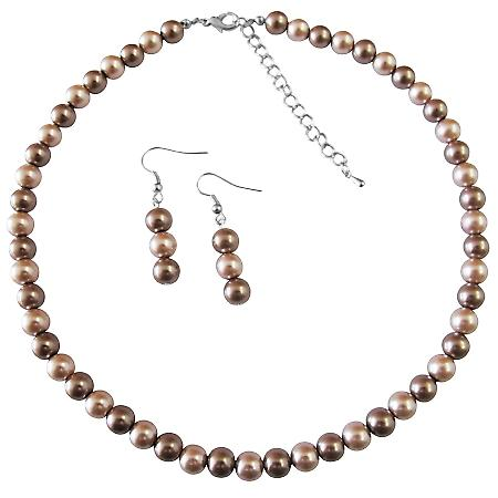 Under $10 Girls Gift Necklace Set Champagne Pearl & Bronze Pearls Prom Jewelry Set