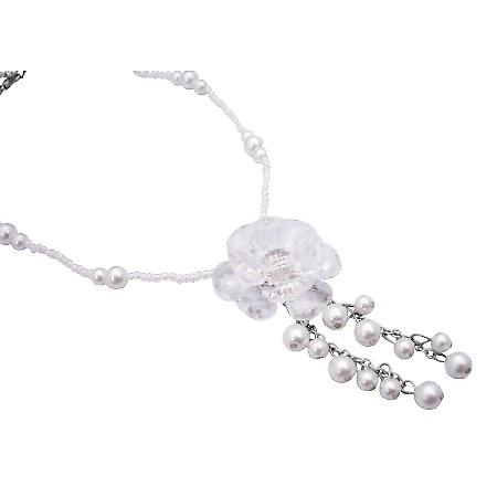 Pure White Bead Pearl Immitation Glass Flower Dangling Pearls Necklace