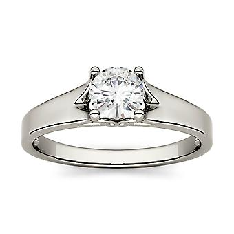 14K białe złoto Moissanite przez Charles idealna Colvard 5mm okrągły pierścionek zaręczynowy, 0,50 ct rosy