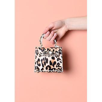 Leopard Print Embossed Faux Leather Micro Mini Tote Bag Multi
