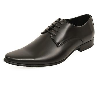 Dobell Mens Black Dress Shoes Contemporaray Style Laced