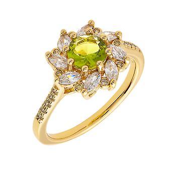 Bertha Juliet collectie vrouwen 18 k YG verguld licht groene bloem Fashion ringmaat 8