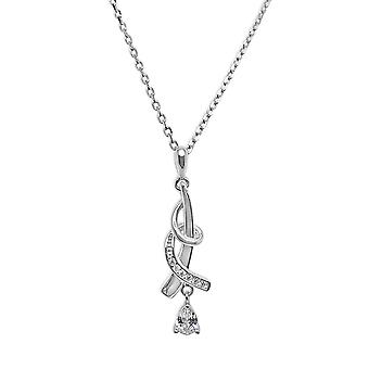 Ah! Jewellery Sterling Silver Twist Pendant Necklace With Clear Crystals From Swarovski