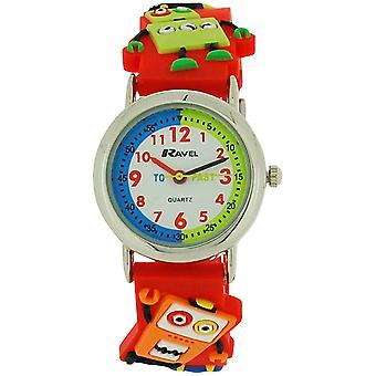 Ravel Time Teacher 3D Robots Design Red Rubber Strap Kids Boys Watch R1513.61