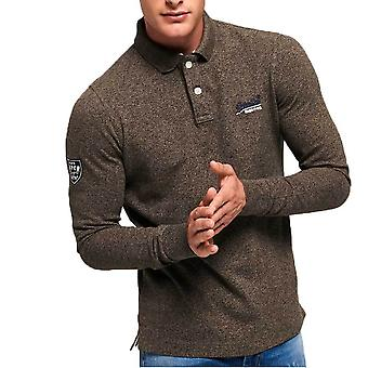 Superdry Classic Long Sleeve Pique Polo Shirt   Pebble