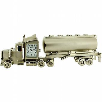 Miniature Oil Tanker Lorry Silver Tone Novelty Desktop Collectors Clock IMP1072T