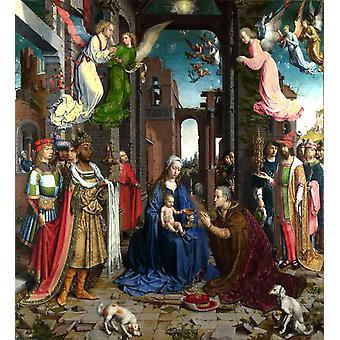 THe Adoration of the Kings,Jan Gossaert Mabuse,50x45cm