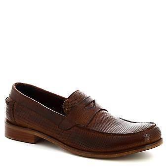 Chaussures Leonardo Chaussures Chaussures Men's hand-made round-toe loafers shoes in brown calf leather
