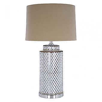 Premier Home Uma bordslampa-EU plugg, keramik, linne, grå