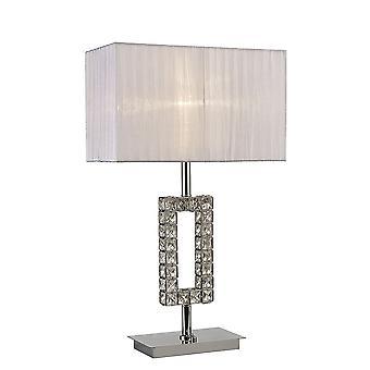 Diyas Florence Rectangle Table Lamp With White Shade 1 Light Polished Chrome/Crystal