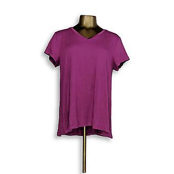 H di Halston Women's Top Essentials V-Neck Tee Purple A306231