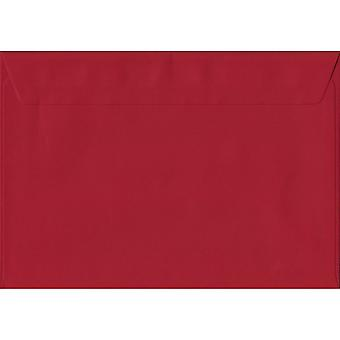Scarlet Red Peel/Seal C5/A5 Coloured Red Envelopes. 100gsm FSC Sustainable Paper. 162mm x 229mm. Wallet Style Envelope.