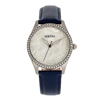 Bertha Dixie Floral Engraved Leather-Band Watch - Blue