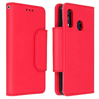 Magnetic Detachable Wallet Folio Case for Samsung Galaxy A40 - Red