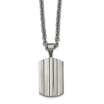 Stainless Steel Brushed and Polished Grooved Dogtag Necklace - 24 Inch