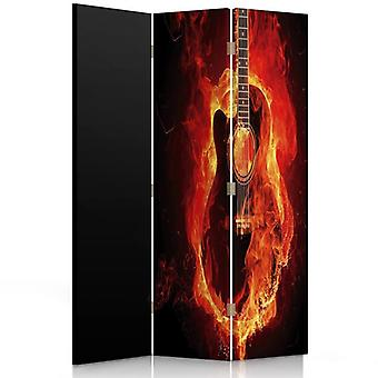 Room Divider, 3 Panels, Double-Sided, Rotatable 360 ??° Canvas, Guitar Burning