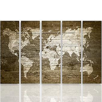 Five Part Picture On Canvas, Pentaptych, Type C, Rustic World Map