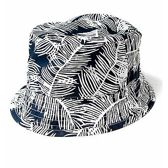 Edwin Navy Palm Print Bucket Hat