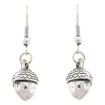 Antique Silver Oaktree Acorn Drop Earrings